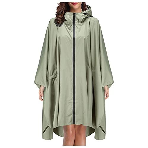 Hooded Rain Reusable Poncho Waterproof Raincoat Rain Jacket for Men Women Adults Teens With Pockets (Green-1, one size)