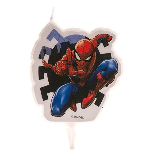 Dekora-346208 Vela de Cumpleaños 2D Spiderman de 7 cm, color rojo (346208)