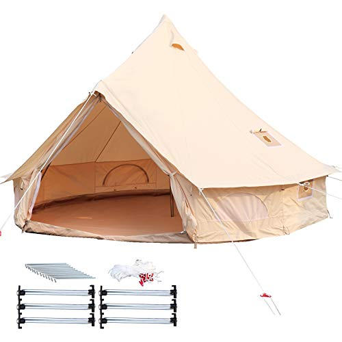 Happybuy Bell Tent Canvas Tent w/Stove Jack, 23ft / 7m, 4-Season Yurt Tents for Camping Family...