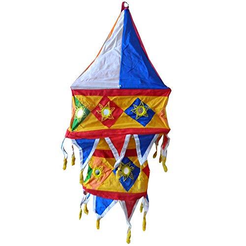 Indischer Lampenschirm Laterne Multicolor 60cm Baumwolle Dekolampe Orient Hängelampe