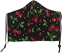 ADULT Size Face Mask- Retro Cherries Cotton Fabric Face Mask Filter Pocket and Nose Wire Reusable Washable- Cloth Face Mask-Face Mask w/Ear Saver- Made in USA