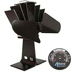 4YourHome Eco Friendly Silent Heat Powered Stove Fan For Wood Log Burners + Free Stove Thermometer Satin Black