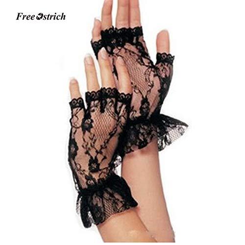 Strauß weiche Handschuhe Damen Kurze Schwarze Spitze Fingerlose Handschuhe Netz Gothic Gothic Kostüm Brautkleid - Schwarz, a1, One Size