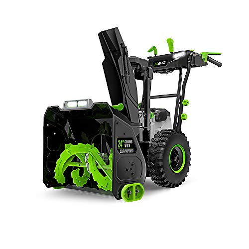 EGO Power+ SNT2405 24 in. Self-Propelled 2-Stage Snow Blower with Peak Power Two 7.5Ah Batteries and Dual Port Charger Included, Black