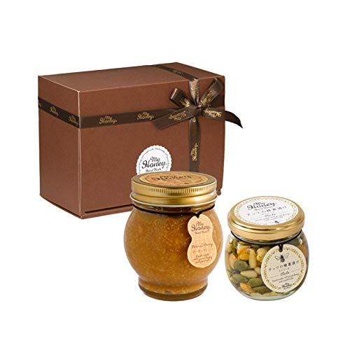 ピーナッツハニーL(200g) + ナッツの蜂蜜漬け エトワールM(90g) / ブラウンギフトボックス(S) + MYHONEYロゴ入りリボン