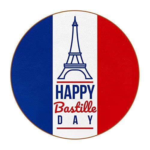 Bennigiry Happy Bastille Day Francia Bandera de cuero posavasos redondos resistentes al calor, tazas de café, tazas de cristal, 6 unidades