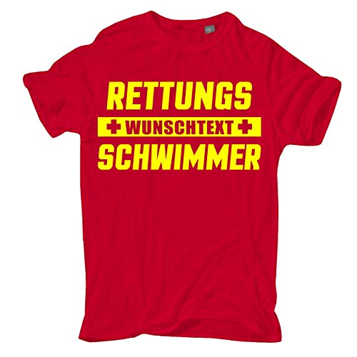 Männer und Herren T-Shirt WUNSCHTEXT Rettungsschwimmer mit Name Firma oder eigenen Text Größe S - 5XL