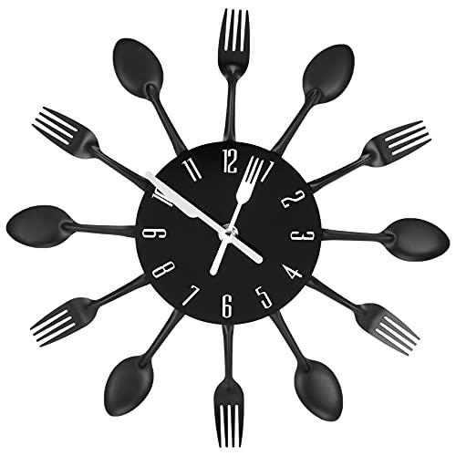 Nrpfell Moderne Grande Noir Métal Horloge Murale Digitale Silencieuse Horloge Murale pour Cuisine Salon Enfants, 32 x 32 x 4 Cm