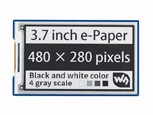Waveshare 3.7inch E-Paper E-Ink Display HAT for Raspberry Pi with 480×280 Pixels Black/White 4 Grey Scales SPI Interface
