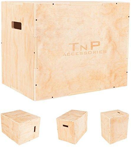 TNP Accessories® Heavy Duty Wooden Plyo Box For Plyometric Squat Jump Box Pylo Training Crossfit Power & Speed 3 Heights (45 * 40 * 35cm)