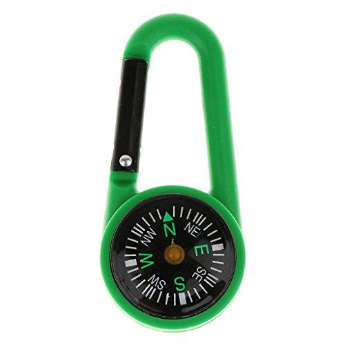 Generic 2 en 1 camping multifonctionnel randonnée mousqueton mini boussole Porte-clés, Outdoor accessoires, vert