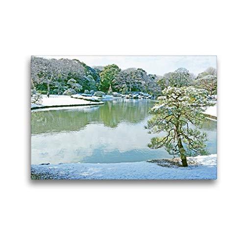 Premium textiel canvas 45 cm x 30 cm dwars, Frostige kou en harmonische stille in de Rikugia-tuin in in Tokio in de winter | muurschildering, beeld op Tokio, Japan (CALVENDO Kunst);CALVENDO kunst