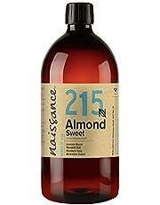 Naissance Natuurlijke amandelolie zoete 1 liter (1000 ml) - veganistisch, vrij van genetische stoffen - ideaal voor huid- en haarverzorging, voor aromatherapie en als basisolie voor massageoliën