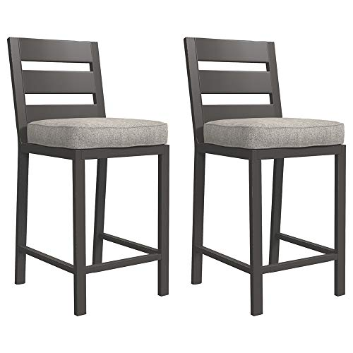 Signature Design by Ashley - Perrymount Outdoor Bar Stool - Set of 2 - Gray & Dark Brown