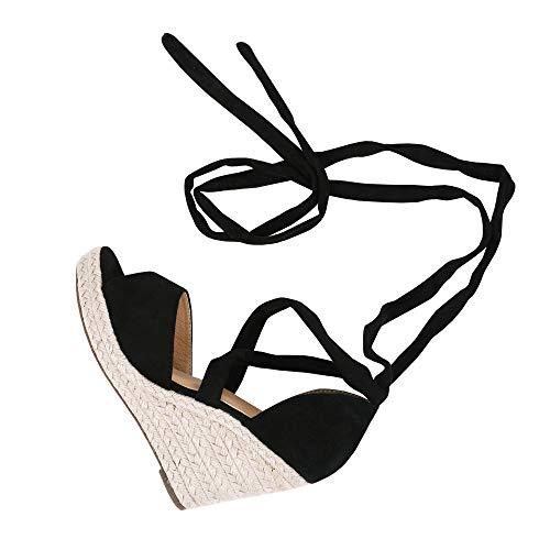 Huiyuzhi Womens Lace Up Wedge Espadrille Sandals Peep Toe Criss Cross D'Orsay Dress Sandals Black