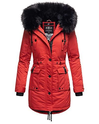 Navahoo Damen Winter Jacke Kapuze Winterjacke Parka Kunstfell Teddyfell B818 [B818-Lul-Pri-Rot-Gr.XL]