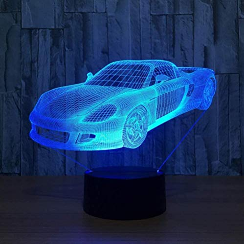 YOUPING Luz nocturna 3D LED táctil 3D ilusión lámpara de carrera coche forma mesa mesa mesa amigos & regalos de Navidad