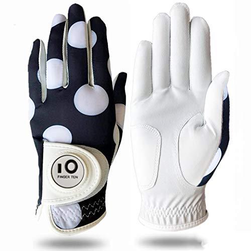 FINGER TEN Golfhandschuh Damen Linke Hand Rechte Mit Ball Marker Allwetter Leder Griff Mode Bedruckter Golf Handschuh Links Rechts Weicher Komfort Passform (Weißer Punkt M-Rechts)