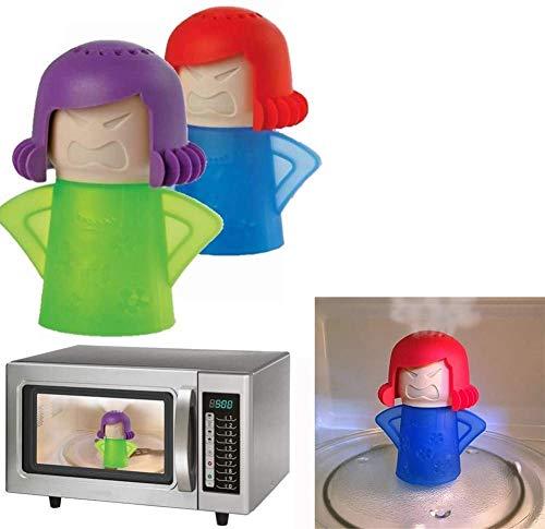Detergente per microonde Angry Mama, pulitore a vapore per forno a microonde, con scritta  Angry Mama , facile da pulire in pochi minuti, strumento per la pulizia della cucina (verde+blu)