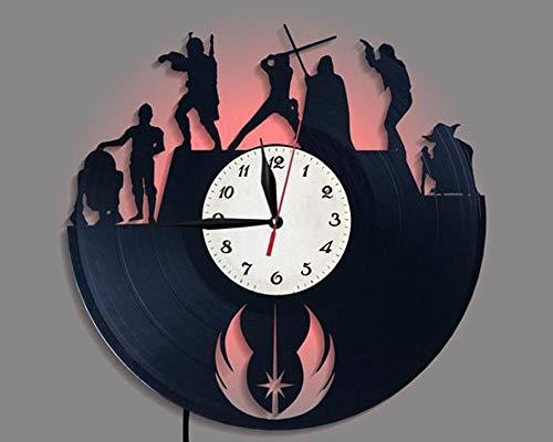 LittleNUM Disco de Vinilo Reloj de Pared Creativo Reloj de Pared de decoración del hogar Star Wars Reloj de Pared del LED con Control Remoto inalámbrico Reloj de Pared por Fans de Star Wars,Stylec