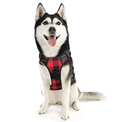 rabbitgoo Dog Harness No Pull, Adjustable Dog Walking Chest Harness with 2 Leash Clips, Comfort Padded Dog Vest Harness with Easy Handle, Reflective Front Body Harness for Medium Breeds, Red Plaid, M