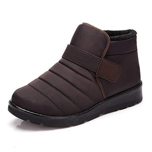 PAMRAY Winterstiefel Damen Herren Stiefeletten Schneestiefel Fell Gefuttert Warme Sport Schuhe Schlupfen Plateau Boots Wandern Trekking Braun 43