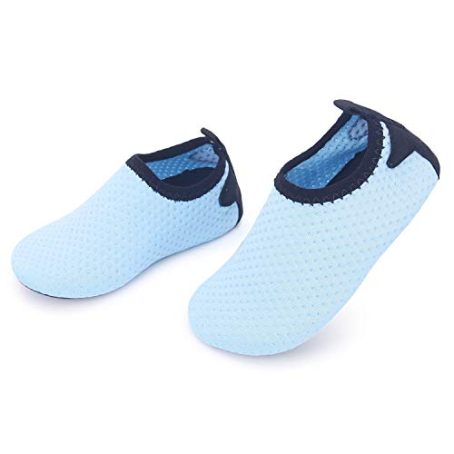 JIASUQI Baby Boys Girls Athletic Water Skin Shoes Socks for Beach River Boating Sky Blue 12-18 Months