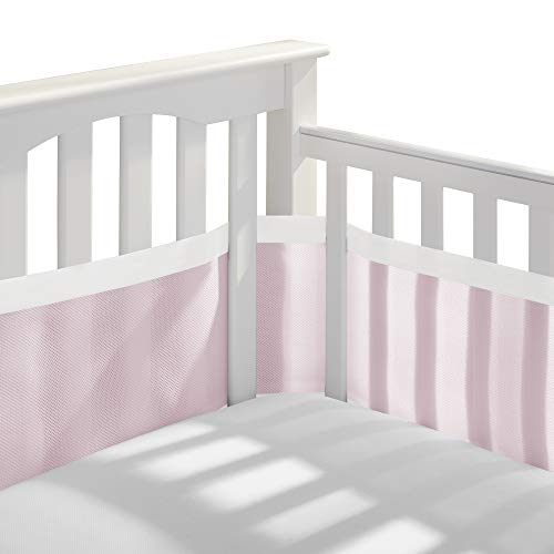 BreathableBaby Deluxe Patented, Safer for Baby, Anti-Bumper, Non-Padded, Breathable Mesh Crib Liner – White & Muslin Trim