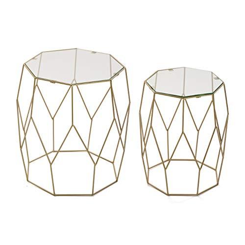 Versa 10850157 Set de 2 mesas auxiliares de café Doradas Lucille, Metal y Cristal, 51 x 48,5 x 48,5 cm