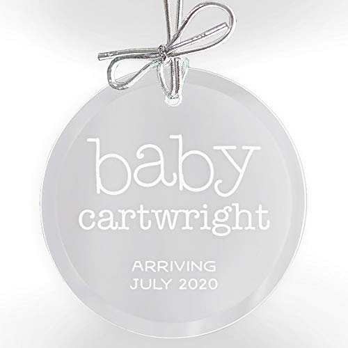 Lifetime Creations Personalized Pregnancy Announcement Ornament: Engraved Expecting Baby Glass Christmas with Bow and Gift Box, Baby on The Way Gift