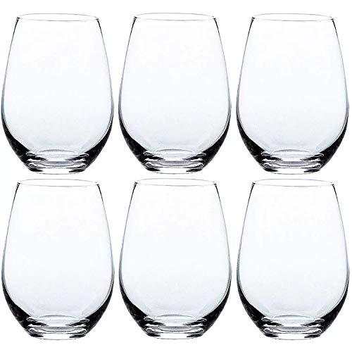 Juego de 6 copas de vino sin tallo 535ml, set de 6 vasos de cristal, vidrio de alta calidad ATAKGLASS