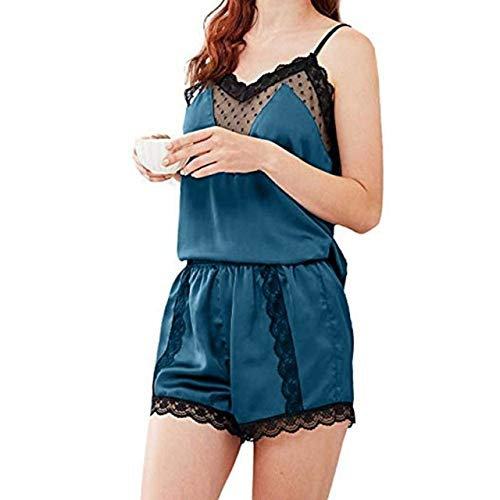 sakkdaull Damen-Pyjama aus Spitze, Seide, für Damen, Push-up-Pyjama, Größe L, Violett