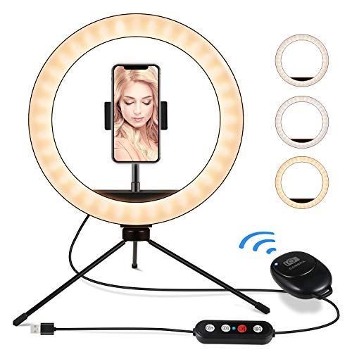 """IUNUSI 8"""" Selfie Ring Light, LED Ring Light with Independent Phone Tripod & Holder for Live Stream/Video/Photography/Blogging/YouTube/, Smooth Dimming, Compatible with iPhone&Android"""