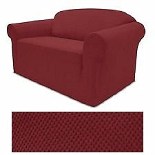 Grand Linen 4-Way Stretch Spandex Jersey Burgundy RED Sofa Slipcover - 1 Piece Couch Cover
