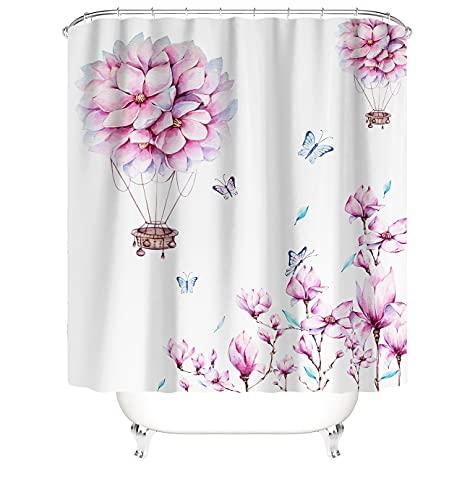 MundW DAS DESIGN Duschvorhang asiatisch Kirschblüten Ballon Japanische Pflanzen Textil Rosa Vorhang Schimmel Resistent waschbar Blätter Schmetterlingen inkl. 12 C-Ringe Gewicht unten 180x200cm(BxH)