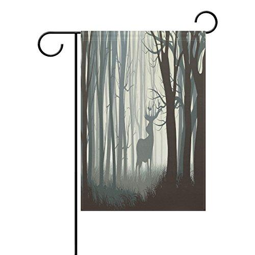 ShineSnow Cerf en Wild Forest Garden Drapeau Double Face Maison Banner 30,5 x 45,7 cm, Arbre d'animaux Fête Yard Home Décor extérieur Drapeaux 28x40(in) Multicolore