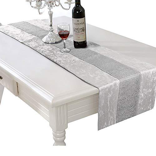 HALOVIE Camino de mesa moderno de fibra de poliéster con franja diamantada lavable para casa, cocina, boda, fiesta, decoración