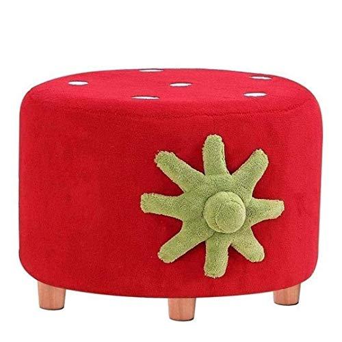 JXJ Taburete otomano con patas, taburete de madera, asiento acolchado redondo suave y compacto – taburete bajo – para sala de estar, dormitorio