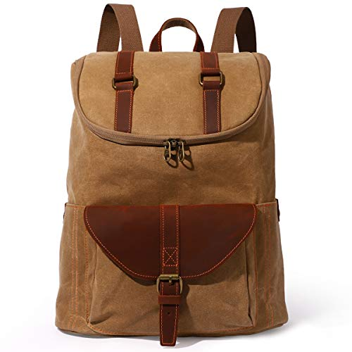Retro Canvas Backpack - Vintage Men Bag Casual Daypack Fashion Satchel Leather Campus Bag...