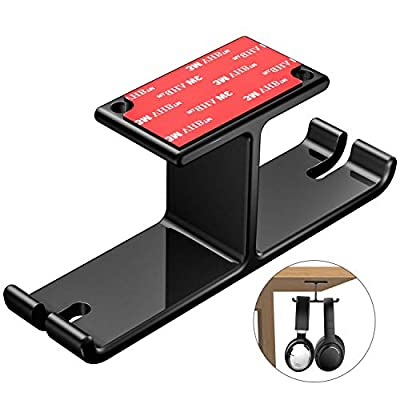 Headphone Holder, New Bee Headphone Stand Stick-On Headphone Hanger Dual Headphone Holder Universal Metal Gaming Headset Holder for All Headphones (Black) from New Bee