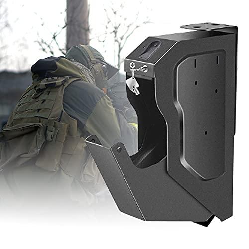 HNWTKJ Portátil Caja de Seguridad para Armas, Caja de Seguridad con Cerradura para Huellas Dactilares, Acceso rápido para Caja de Seguridad para Huellas