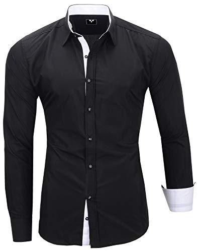 Kayhan Herren Übergröße Hemd, TwoFace Schwarz 4XL
