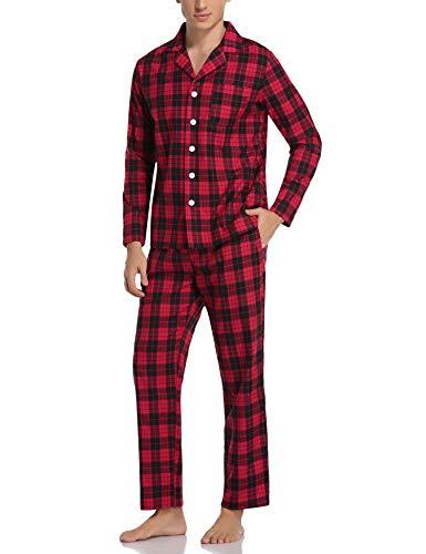 Aibrou Herren Schlafanzug lang Karierter Pyjama Set Zweiteilige Nachtwäsche Langarm mit V-Ausschnitt und Knopfleiste (Rot+Schwarz, Small)