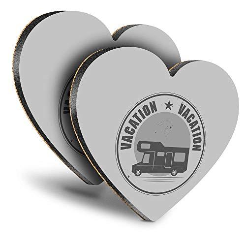 Destination Vinyl ltd Great Posavasos (Juego de 2) Corazón – BW – Camper Van Autobús Camping Bebélula brillante Posavasos/Protección de mesa para cualquier tipo de mesa #40699