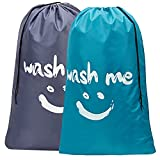 Product Image of the HOMEST 2 Pack XL Wash Me Travel Laundry Bag, Machine Washable Dirty Clothes Organizer, Large Enough to Hold 4 Loads of Laundry, Easy Fit a Laundry Hamper or Basket, Light Blue and Grey (Patent Design)