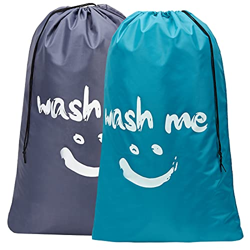 HOMEST 2 Pack XL Wash Me Travel Laundry Bag, Machine Washable Dirty Clothes Organizer, Large Enough to Hold 4 Loads of Laundry,...