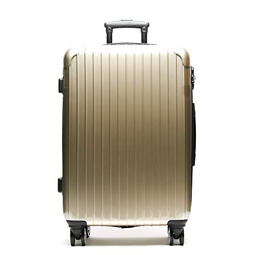 MISAKO Maleta Mediana de Viaje Oro Roma Unisex | Maleta Rígida Elegante | 69x48x24m - 73L - 3,5KG | Maleta con Cierre de Seguridad 4 Ruedas Giratorias | Resistente