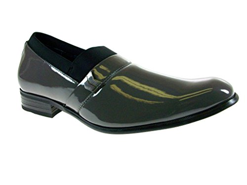 Delli Aldo Men's 19238P-Gray Patent Smooth Dress Loafers, Gray, 7