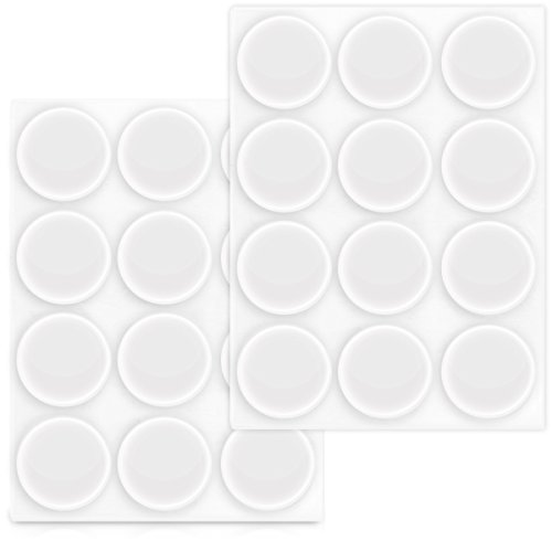 Navaris 24x topes elásticos Transparentes - Amortiguadores Adhesivos para Pared Armario Ø 22 MM - Tope Protector Adhesivo para Puerta
