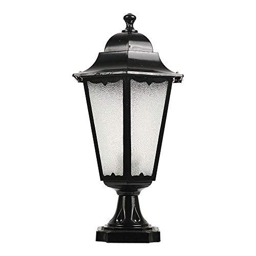 QCSMegy Poste de Luces para Exteriores Vintage Aluminio Fundido a presión con Vidrio de Agua Impermeable IP55 para Patio Trasero, Patio, jardín, Piscina, luz de Columna (Color: Negro)